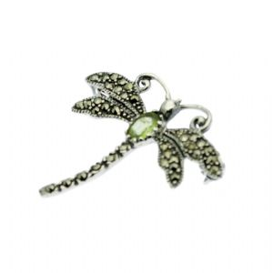 Marcasite  Dragonfly Brooches with Emerald or Peridot on Sterling Silver